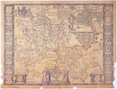 Obraz Antique Oxfordshire mapie