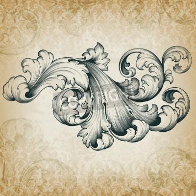 Obraz archiwalne barokowy grawerowanie kwiatowy scroll filigran elementem frameborder akantu projekt retro grunge wzór na tle adamaszku