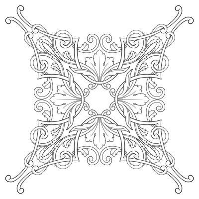 Obraz Archiwalne barokowy ramki grawerowanie scroll ornament