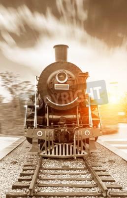 Obraz archiwalne czarno napędzie parowym kolejowej pociągu