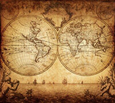 Obraz archiwalne mapa świata 1733
