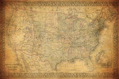 Obraz Archiwalne mapy z USA 1867