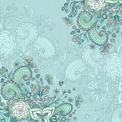 Obraz Archiwalne tła z kwiatami na niebieskim doodle