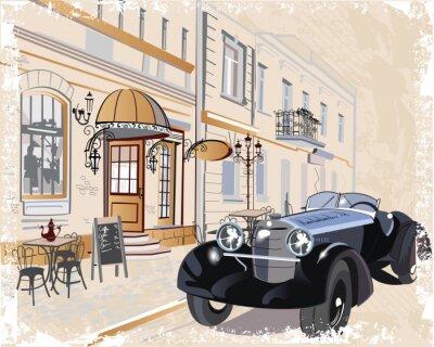 Obraz Archiwalne tła z retro samochodu i muzyków, widokiem na Stare Miasto.