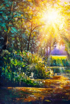Obraz Art painting Scenic forest of fresh green deciduous trees framed by leaves, with sun casting its warm rays through foliage