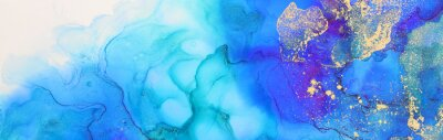 Obraz art photography of abstract fluid art painting with alcohol ink, blue and gold colors