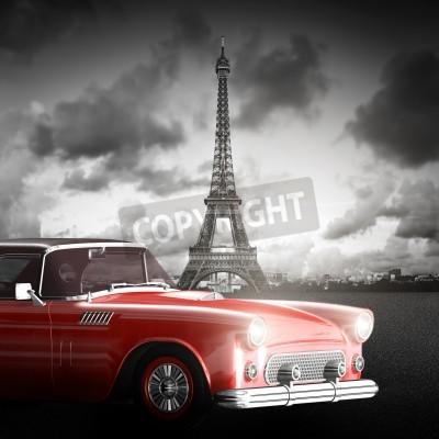 Obraz artystyczny obraz z wieży Eiffla, Paryż, Francja i czerwony samochód retro.