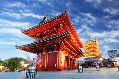 Obraz Asakusa świątyni z pagoda w nocy, Tokio, Japonia