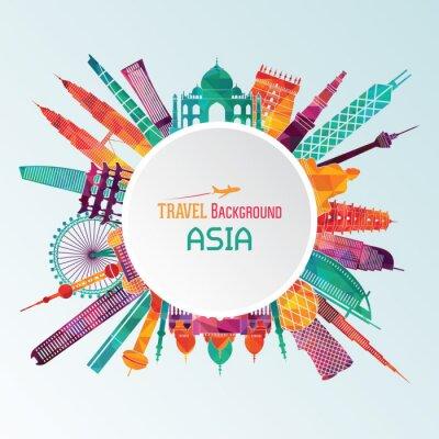 Obraz Asia szczegółowe sylwetki. ilustracji wektorowych