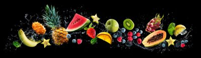 Obraz Assortment of fresh fruits and water splashes on panoramic background
