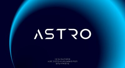 Obraz Astro, an abstract sporty technology science alphabet font. digital space typography vector illustration design