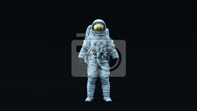 Obraz Astronaut with Gold Visor and White Spacesuit with Neutral Light Blue Diffused lighting Front 3d illustration 3d render