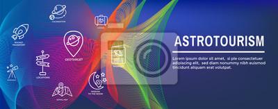 Obraz Astroturystyka Space Space lub Tourism Web Header Banner ze statkiem kosmicznym, teleskopem i planetami