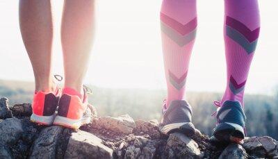 Obraz athlete running sport feet on trail healthy lifestyle fitness