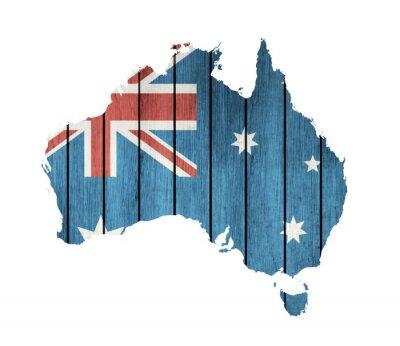 Obraz Australijska Mapa flaga z drewnianym