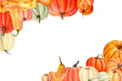 autumn pumpkins on an isolated white background, watercolor painting, hand drawing, greeting card with place for text, invitation