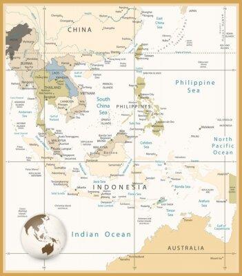 Obraz Azja Południowo Szczegółowa mapa kolorach retro