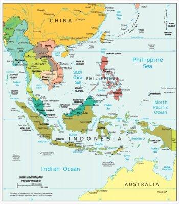 Obraz Azja Południowo-Wschodnia podziały polityczne