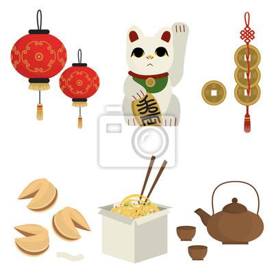 Obraz Azjatyckie pamiątki. Chińskie jedzenie. Wektor zestaw