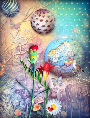 Obraz Bajki tło z kolorowych kwiatów fleld