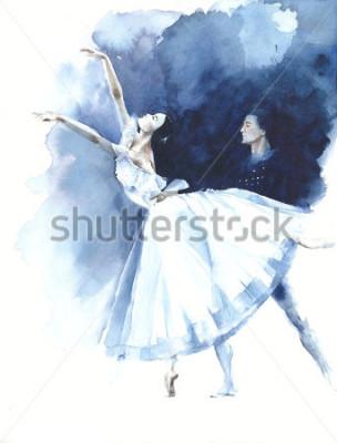 Obraz Balerina tana baletniczego tancerza Giselle akwareli obrazu ilustracyjnego kartka z pozdrowieniami