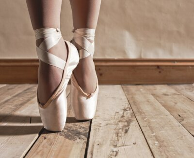 Obraz Baletki na drewnianej podłodze