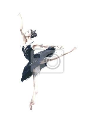 Ballerina dancer Odile Black Swan Swan Lake akwarela ilustracji samodzielnie na białym tle