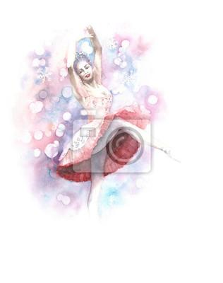 Ballerina dancer orzechówka bajki akwarela ilustracja karty z pozdrowieniami samodzielnie na białym tle