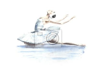 Ballerina dancer White Swan Swan Lake umiera łabędź akwarela ilustracji samodzielnie na białym tle