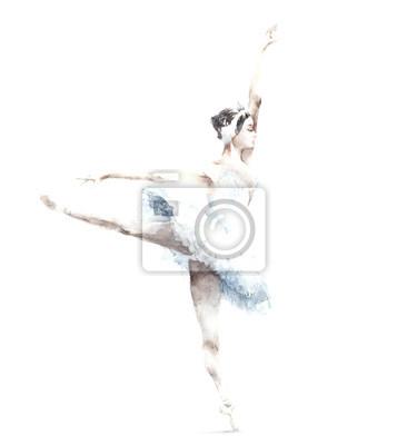 Ballerina taniec akwarela ilustracja karty z pozdrowieniami samodzielnie na białym tle