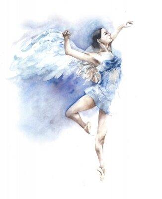Ballerina taniec Anioł akwarela na białym tle