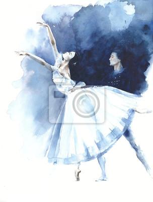 Ballerina taniec tancerz baletu Giselle akwarela ilustracja karty z pozdrowieniami