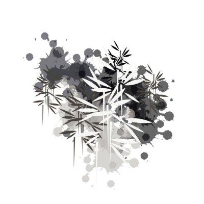 Obraz bamboo forest illustration in black ink