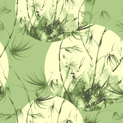 Obraz Bamboo watercolor stems and leaves seamless pattern. painting of bamboo forest on textured paper. Decorative watercolor bamboo, jungle, thickets. silhouette branches, tropics