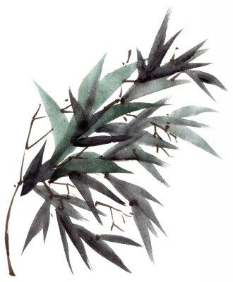 Obraz Bambus akwarela gałęzi liści