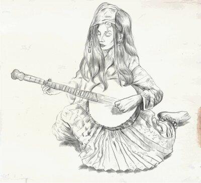 Obraz Banjo Player - ilustracji wektorowych (przekształcone)
