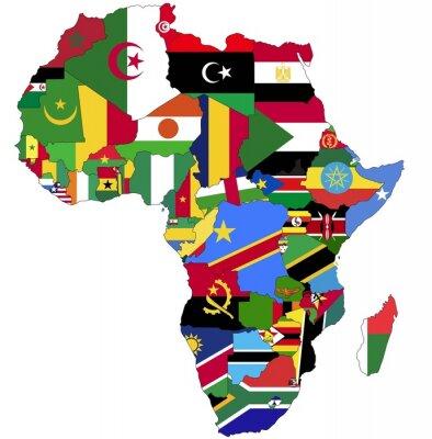 Obraz Bardzo Szczegółowe Afryki mapa z flagami kraju.