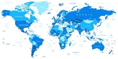 Obraz Bardzo szczegółowe ilustracji wektorowych map.Borders świata, krajów i miast.