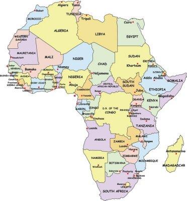 Obraz Bardzo szczegółowe Mapa polityczna Afryki.