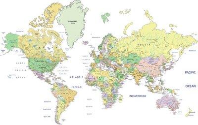Obraz Bardzo szczegółowe polityczna mapa świata z etykietowania.