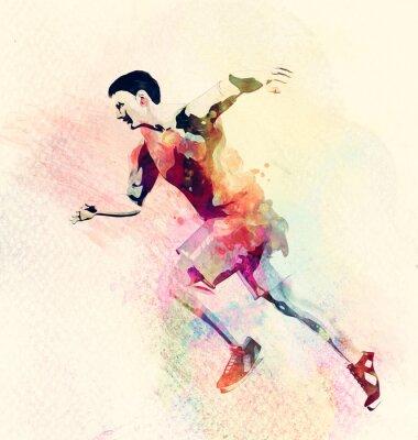 Obraz Barwny obraz człowieka z systemem. Streszczenie twórczy tło sportu