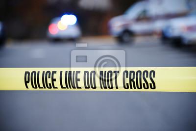 Obraz Barykada policyjna chroniąca miejsce zbrodni