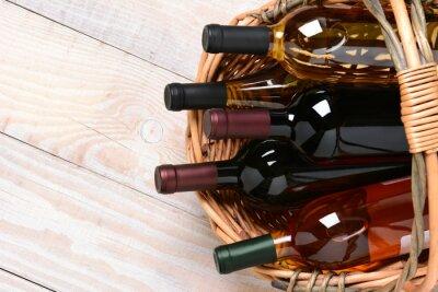 Obraz Basket of Wine Bottles