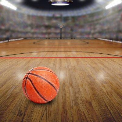 Obraz Basketball Arena z kulki na przestrzeni Sądowym i kopiowania. Przedstawiane w Photoshopie.