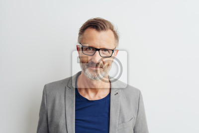 Obraz Bearded middle-aged man in glasses