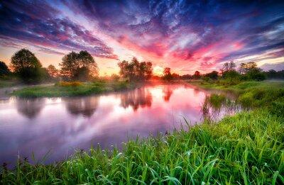 Obraz Beautiful summer sunrise over river banks