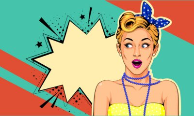 Obraz Beautiful surprised pin up girl vector illustration in pop art style