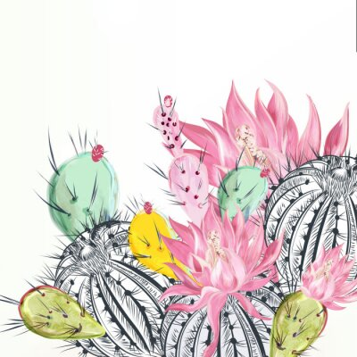 Obraz Beautiful vector illustration with cactus plants and flowers