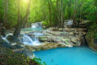 Obraz Beautiful waterfall in deep forest at Erawan National Park, Thailand.