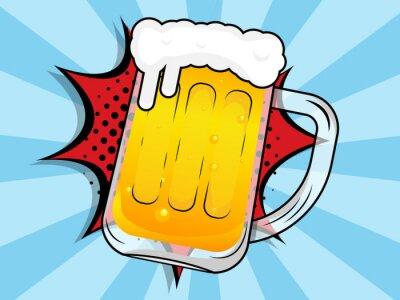 Obraz beer mug with boom comic book, pop art